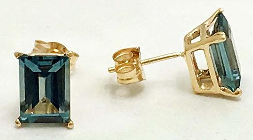 natural 142 carats blue zircon 14k yellow gold earrings
