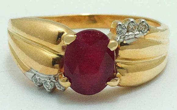 Natural 1.40 Carats Ruby & Diamonds 10k Gold Ring