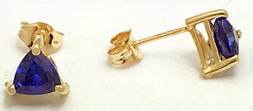 natural 105 carats trillion tanzanite 14k yellow gold earrings