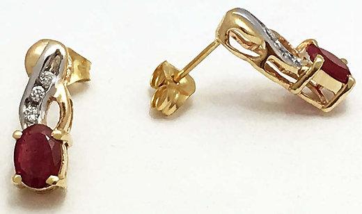 natural 090 carats rubies u0026 diamonds 14k yellow gold earrings