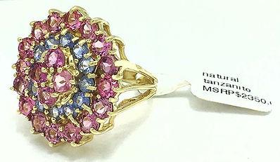 Pink Sapphire & Tanzanite Ring