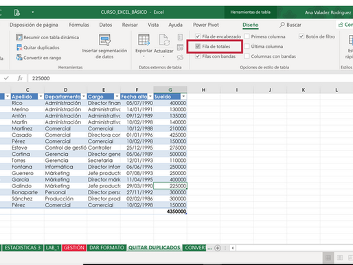 Fila de totales en una tabla de Excel