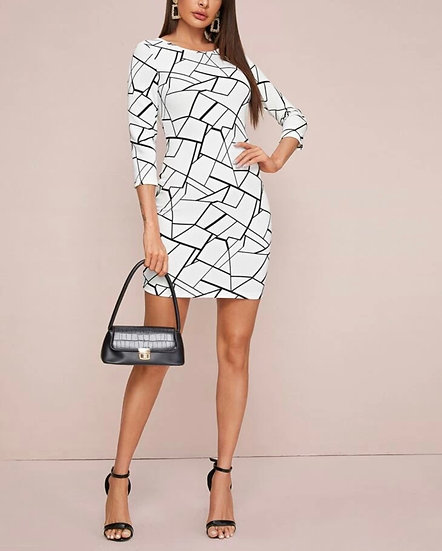 Geo Print Bodycon Dress