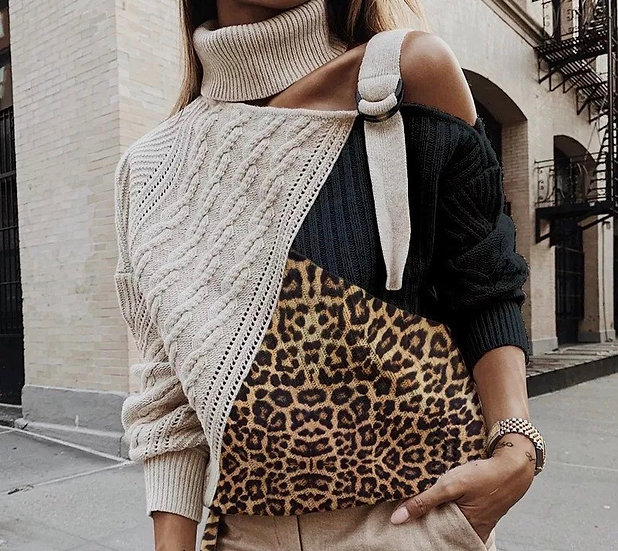 Leopard Patchwork Turtleneck Sweater