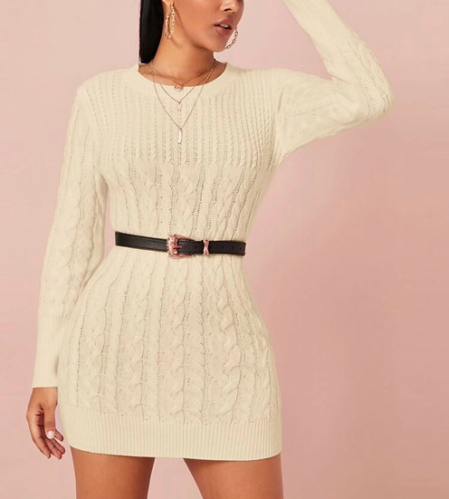 Solid Cable Knit Bodycon Sweater Dress Without Belt