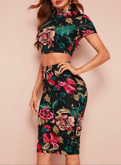 Mock Neck Floral Print Crop Top & Pencil Skirt Set