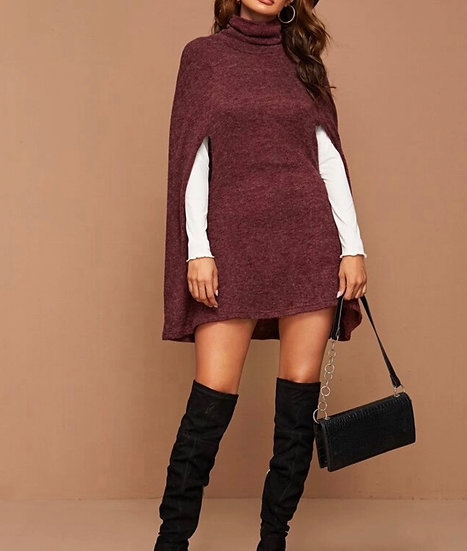 Funnel Neck Knit Cape Dress