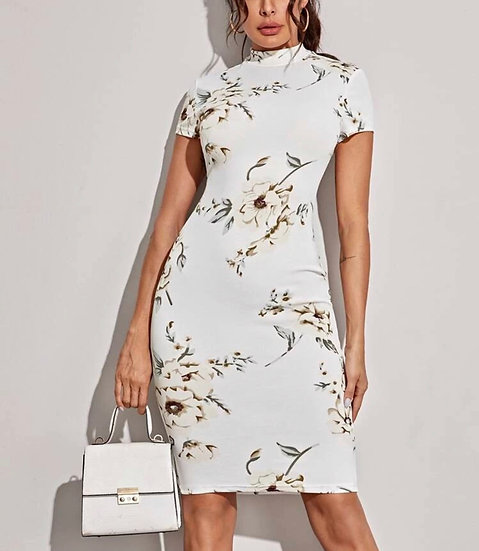 Mock-neck Floral Print Midi Pencil Dress