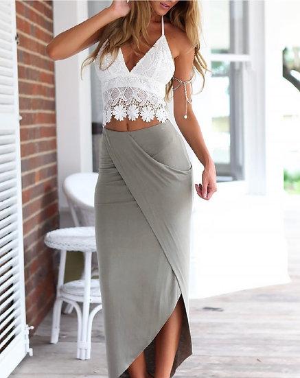 Lace Crop Top Slit Maxi Dress Sets