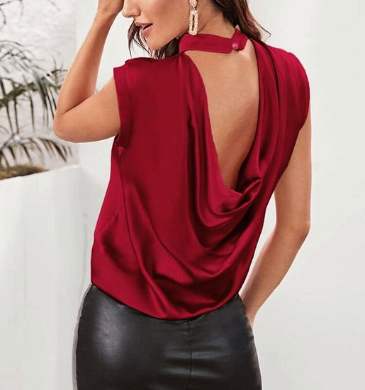 Mock-neck Draped Back Satin Top