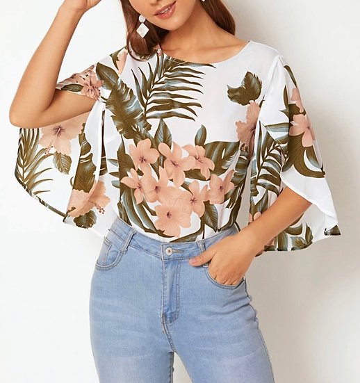 Floral and Tropical Print Split Bell Sleeve Top