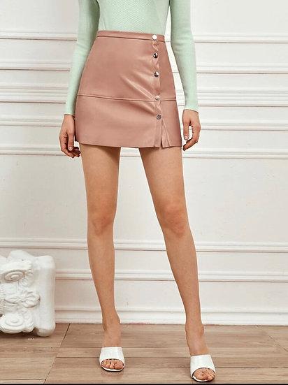 Premium Button Front PU Mini Skirt