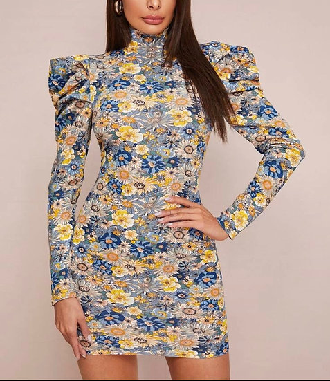High Neck Gigot Sleeve Floral Bodycon Dress