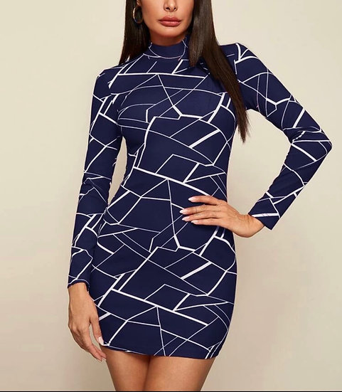Mock-Neck Geo Print Bodycon Dress