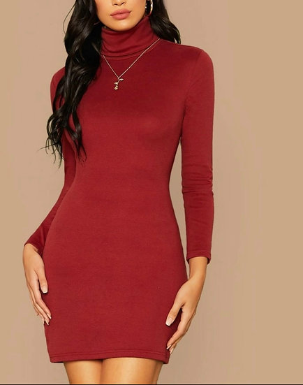 High Neck Crisscross Back Bodycon Dress