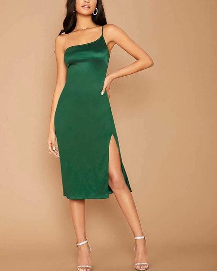 One Shoulder Split Thight Satin Dress