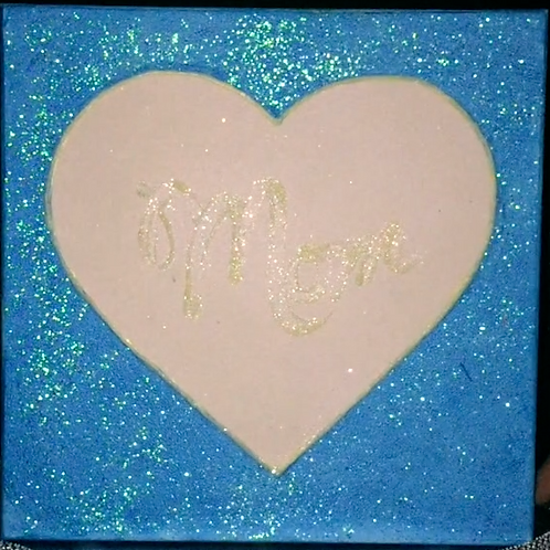Love Light Neon Blue Mom