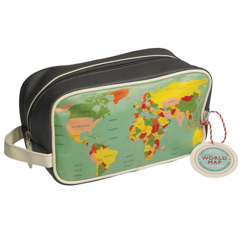 World map washbag vintage world map design wash bag with a white lining and internal pocket gumiabroncs Image collections