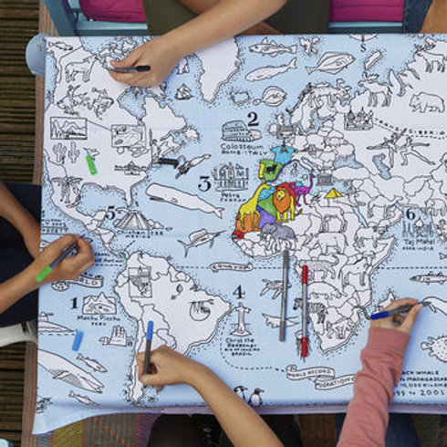 World Map Doodle Table Cloth