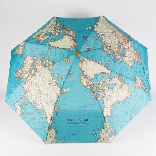 Vintage World Map Folding Umbrella