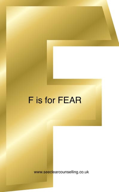 Gold letter F for Fear