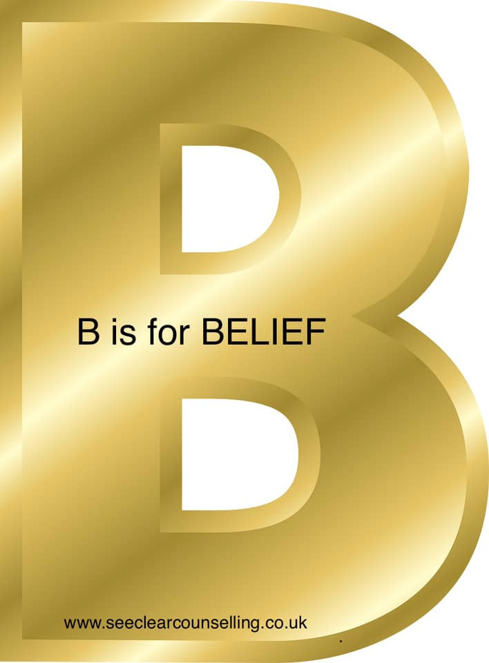 Gold letter B is for Belief