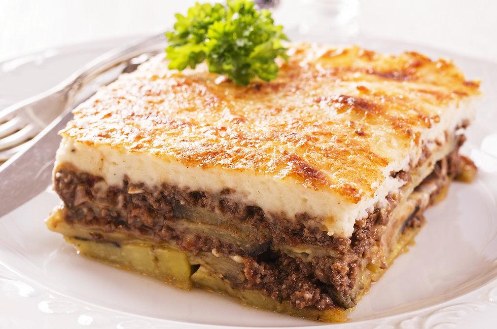 greek mussaka,eggplants,bechamel,minced meet, in the oven, traditional greek food
