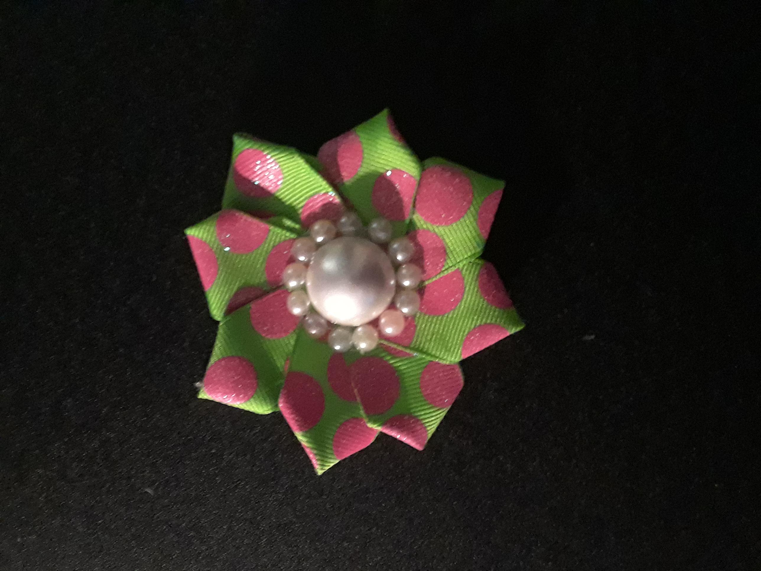 glitter polka Dot pearl flower