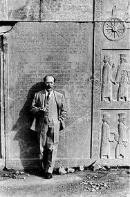 Ernst Hezfeld Posing in Front of Pasargad