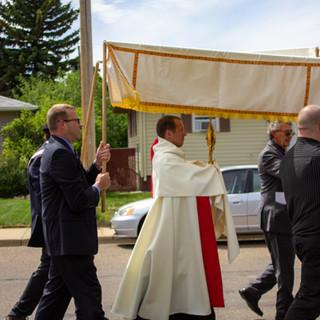 Father Kregg Hochhalter Walking to Trinity