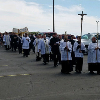 Procession Walking Towards Queen of Peace
