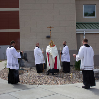 Father Kregg Hochhalter Blessing the Congregation at Trinity High School