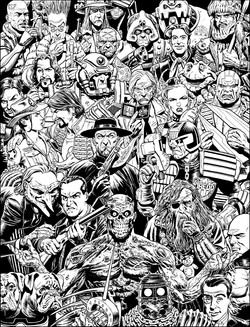 Weston 2000ad cover Group bw