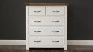 Manhattan Cream & Oak 5 Drawer Chest