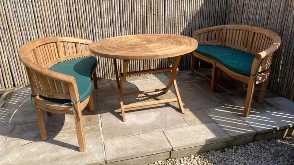 Teak Ripple Table & Oxford Wave Benches