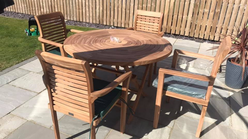 Teak Ripple Table & Stacking Chairs