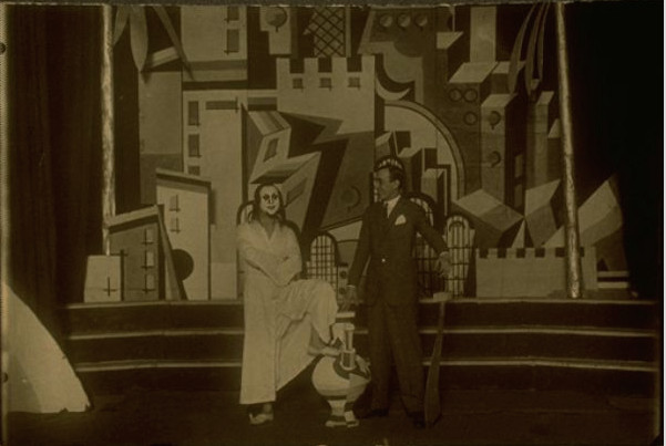 Joseph Buloff and M. H. Maxy on the set of Shabse Tsvi in Bucharest, 1926.