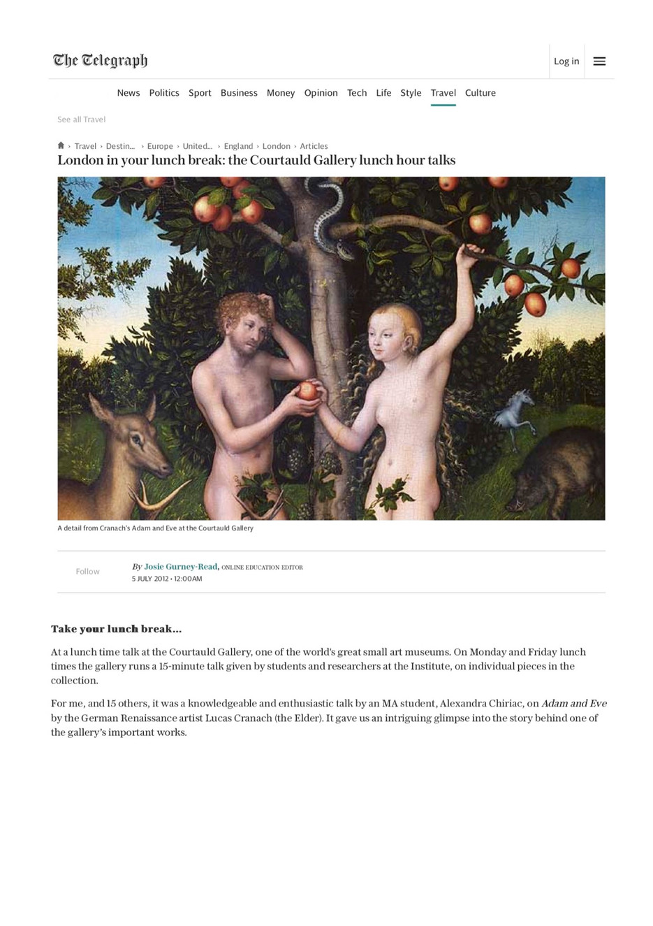 Review of a talk at the Courtauld Gallery