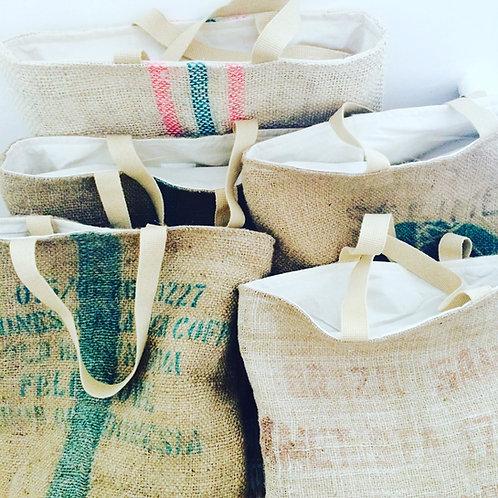 Recycled Coffee Sack Beach Bag