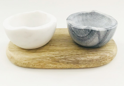 This Set Of Pinch Pots Is Hand Crafted From Marble On A Wooden Base Can Be Used For Salt And Pepper Or Dips Sauces
