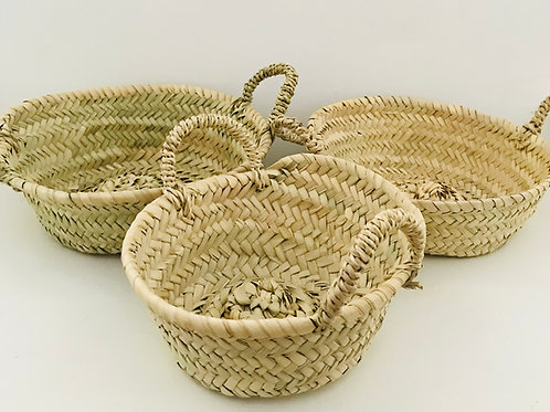Set Of 3 Round Basket Trays