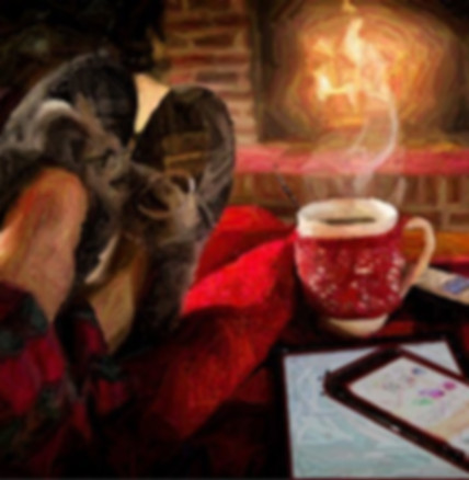 feet up on red blanket, slippers, spoon and cup containing hot liquid, note pad, smart phone facing fireplace mantle, picture developed and modified, source: pexels.com