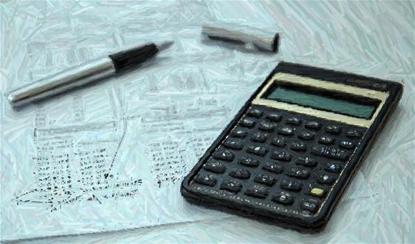 calculator black cap ball pen inox white paper print, picture developed and modified color pencil effect, source : pixabay.com