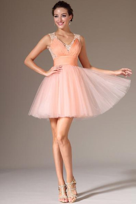 Lace-Back Above-Knee Length Party/Homecoming Dress (04140910)