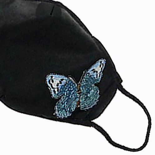 Butterfly Blue Sequins Mask