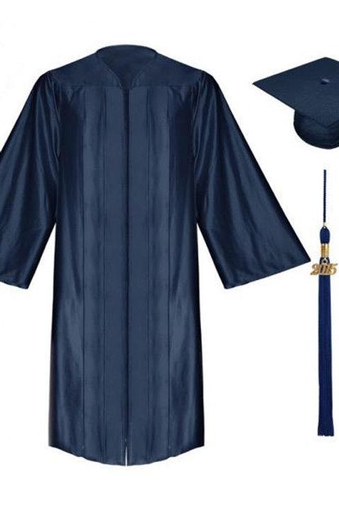 Navy Blue Satin Graduation Gown, Cap And Tassel