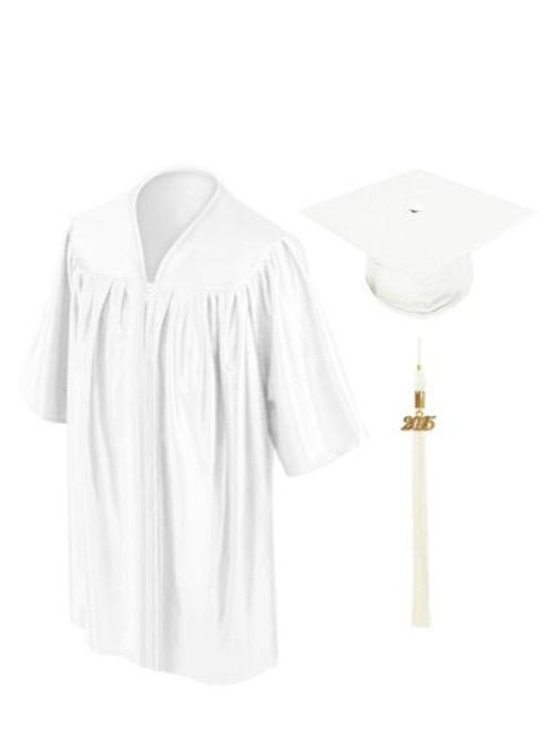 White Satin Child's Graduation Gown, Cap & Tassel