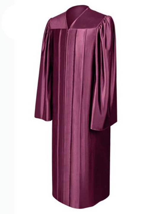 Maroon Satin Graduation Gown, Cap And Tassel