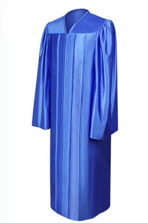 Royal Blue Satin Graduation Gown