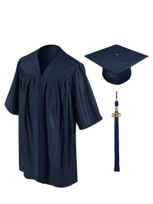 Navy Shiny Child Graduation Gown, Cap & Tassel